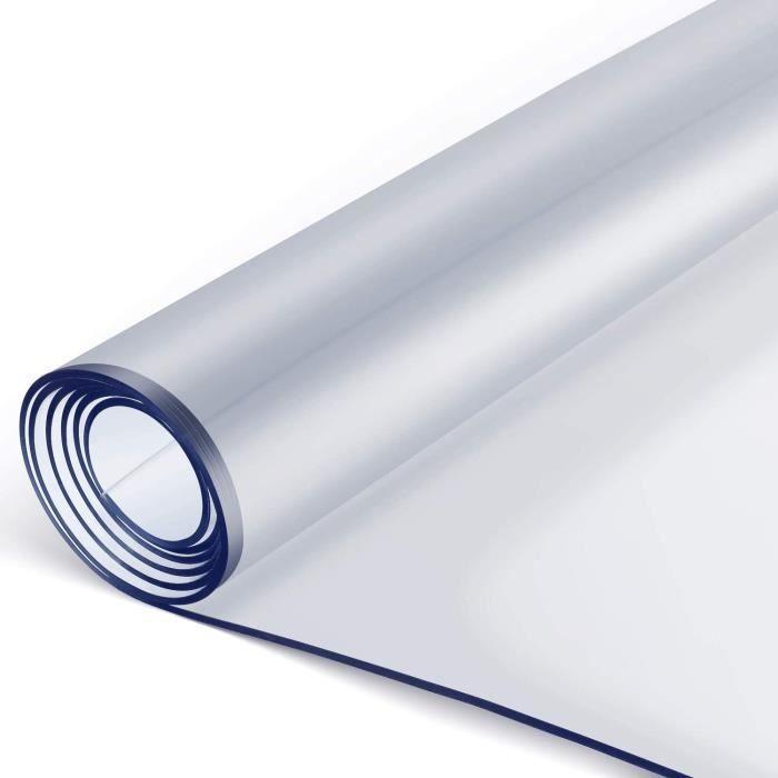 Femor Nappe Transparente en PVC écologique, Protection de Table 90 * 160 * 0.2CM, Imperméable, résistant à l'huile, antidérapant