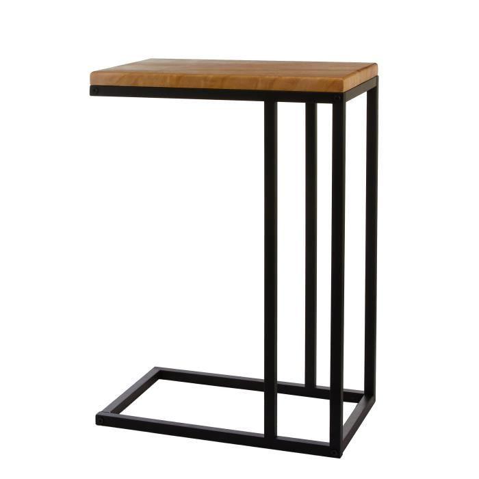 Mica Decorations Oskar Table d'appoint - L46 x B30 x H66 cm - Bois/Métal - Noir