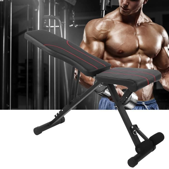 Tbest Banc d'entraînement complet du corps Banc pliable réglable Banc de musculation multifonctionnel pour l'entraînement complet