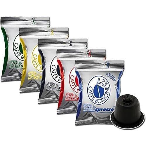 5 x 50 capsules Borbone Respresso Degustation 50 noires, 50 bleues, 50 red, 50 or, 50 dek compatibles Nespresso