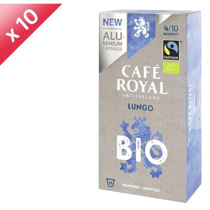 [LOT DE 10] CAFE ROYAL Café Lungo - Compatible Nespresso aluminium - Bio - 10 capsules