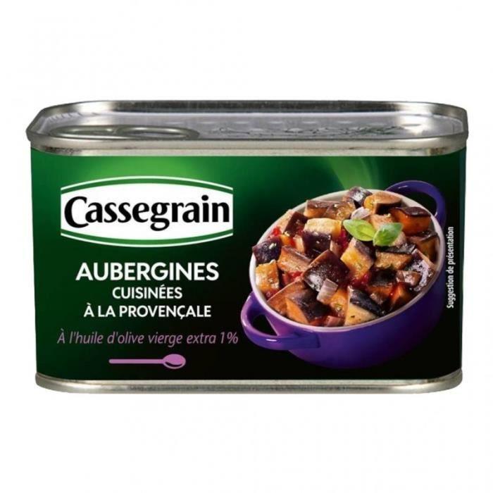 Cassegrain Aubergines Cuisinées à la Provençale à l'Huile d'Olive Vierge Extra 375g (lot de 5)