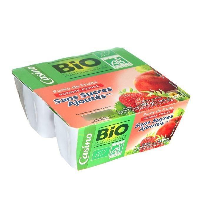 CASINO Bio Purée Pomme fraise - 4x95 g