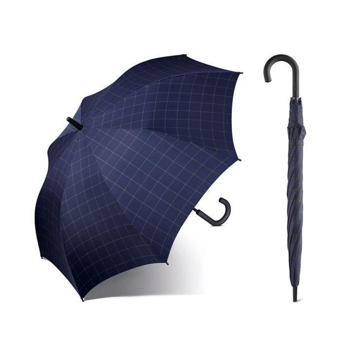 Esprit - Parapluie canne droit automatique homme Long AC (gentslongac) checkblue 50152 taille 92 cm