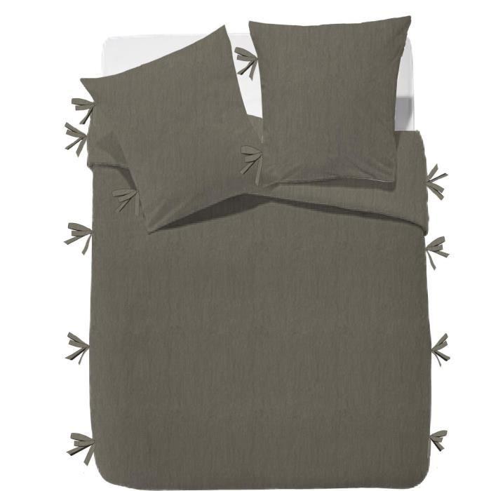FINLANDEK Parure de couette Rachelle - 100% coton lavé - 240 x 260 cm - Taupe