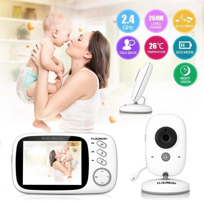 FLOUREON Écoute-bébé Numérique 3.2- Sans Fil 2.4 GHz LCD Sécurité Caméra Vision Nocturne EU