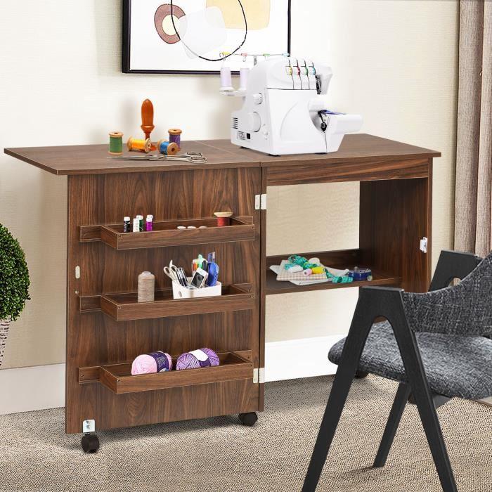 Giantex Table Pliable pour la Machine à Coudre avec 4 Etagères de Rangement, Armoire à Machine à Coudre en MDF avec Roulettes