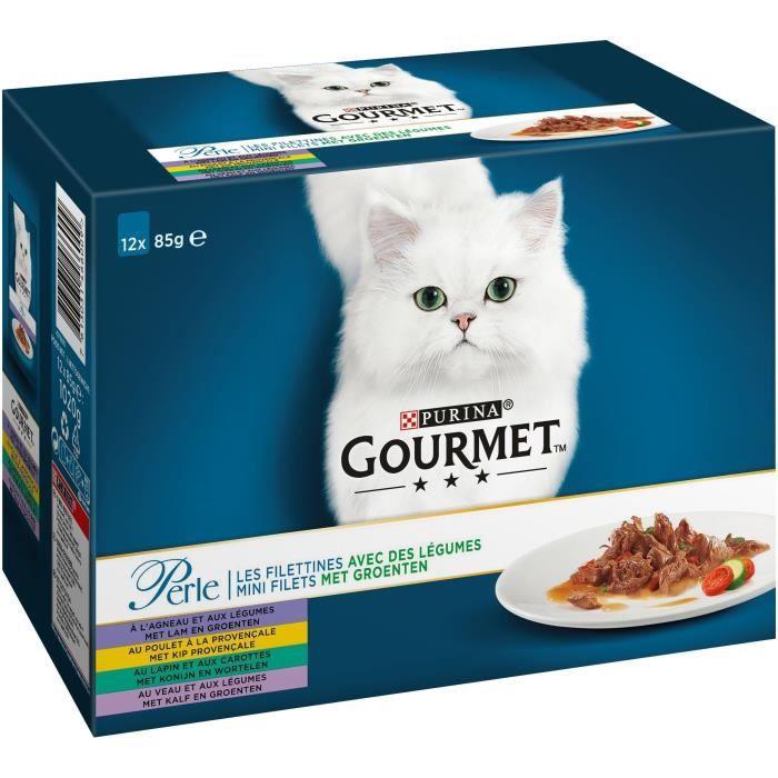 GOURMET Perle Les Filettines avec des légumes - Sachets fraîcheur - Pour chat adulte - 12 x 85 g