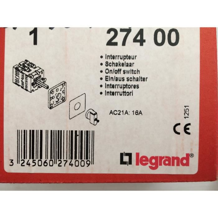 LEGRAND - 27400 -COMMUTATEUR - INTERRUPTEUR MARCHE/ARRÊT - PR 12 - 1P - 1 CONTACT - FIXATION VIS