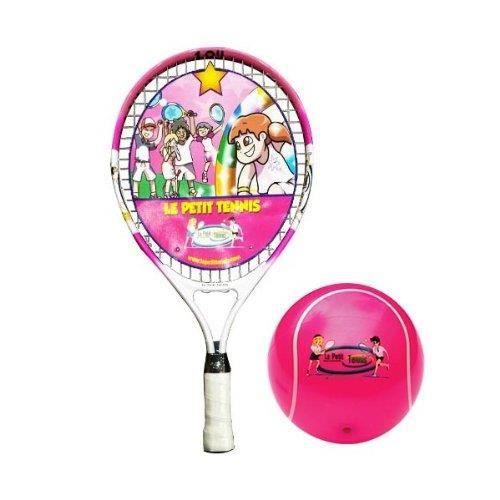 Le Petit Tennis - Raquette Rose 19- + Balle Tennis Gonflable Rose 15cm - pour Enfant de 5 ans – (Raquette 47cm + Balle 6-)