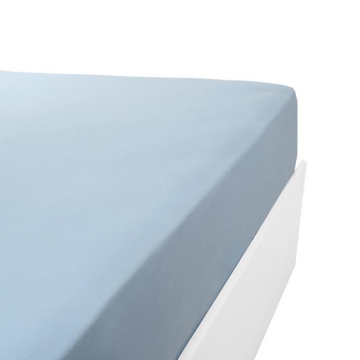 LINANDELLE - Drap housse coton jersey extensible DOUCEUR - Bleu clair - 200x200 cm