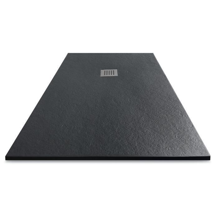 MITOLA Receveur de douche rectangulaire à poser Liwa - 120 x 80 cm - Résine composite - Gris anthracite