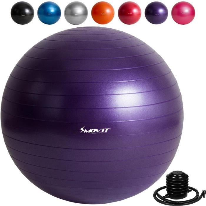 MOVIT Balle de gymnastique violet, 75 cm avec pompe