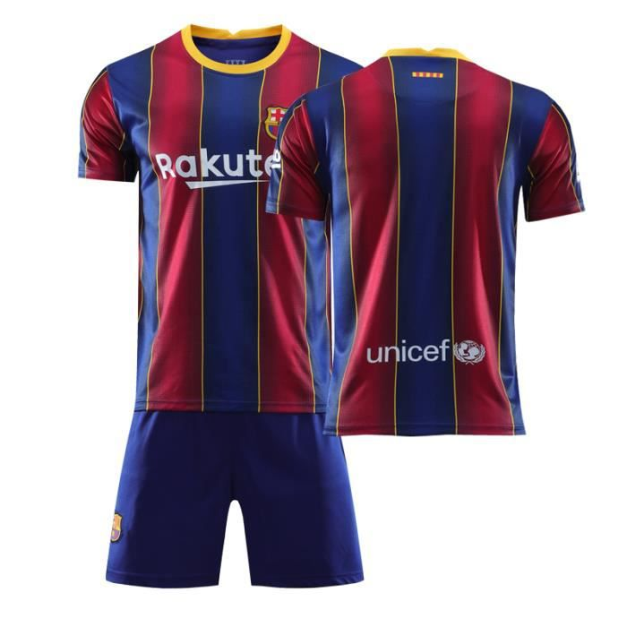 Barca Lionel 20-21 Jersey Maillots Foot et Shorts de Football Homme-Enfant-rouge