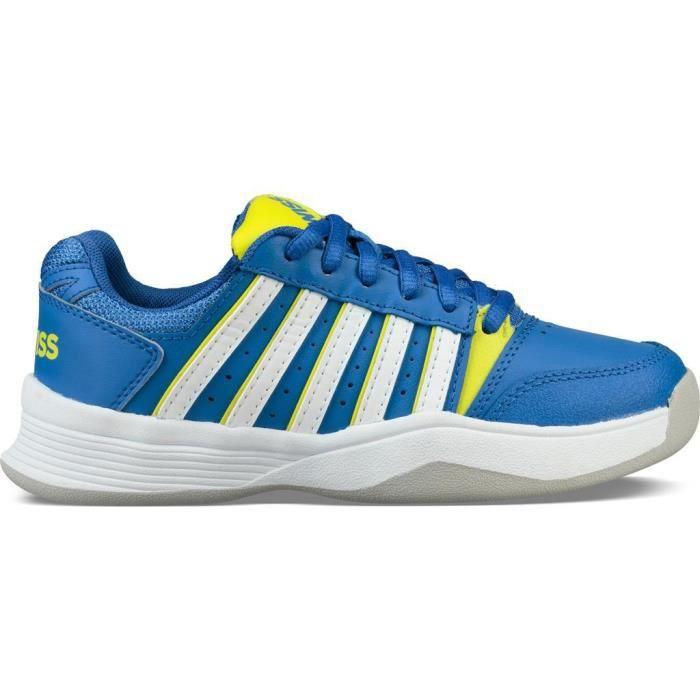 Chaussures de tennis enfant K-Swiss ks tfw court smash - bleu foncé/jaune/blanc - 27,5