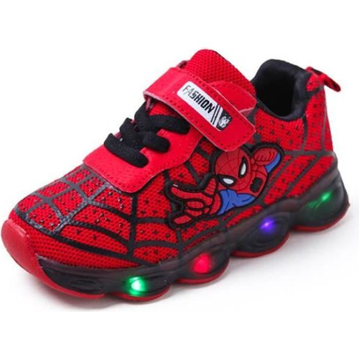 Chaussures de course Spiderman pour enfants, légères et décontractées-rouge