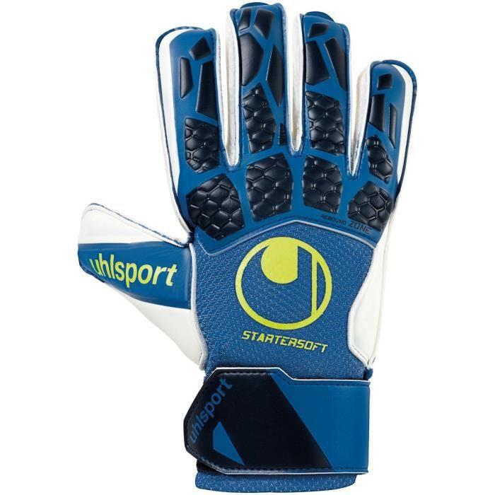 Gants de gardien de but Uhlsport hyperact starter soft - bleu nuit/blanc/jaune fluo - 6,5