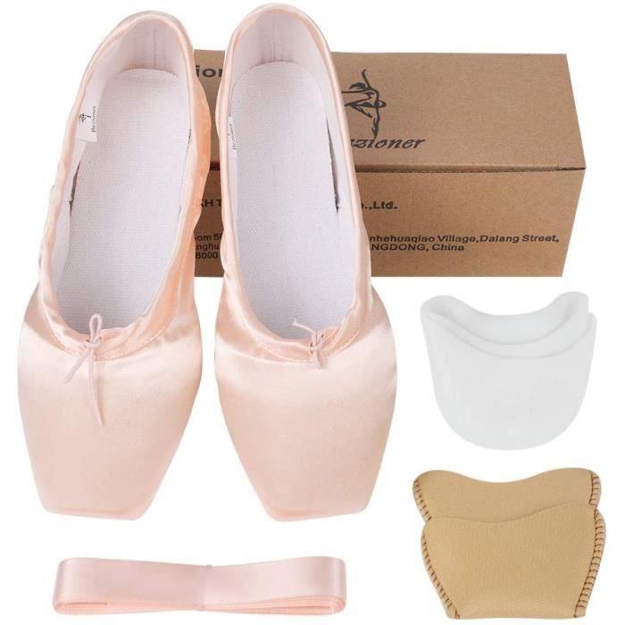 chaussons de danse classique pointe de ballet en satin avec rubans et pointes