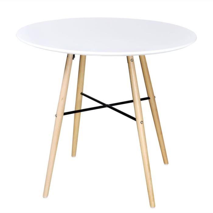 Table de salle à manger salle à dîner 80 x 72 cm Tables d'extérieur cuisine style contemporain ronde MDF Blanc