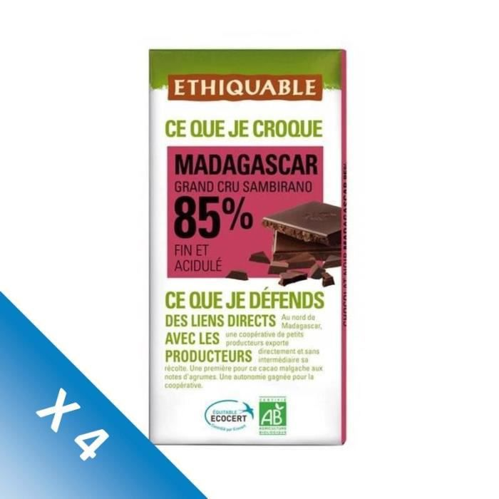 [LOT DE 4] ETHIQUABLE Chocolat noir 85% de Madagascar - Bio - 100g