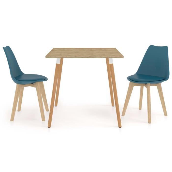 PAL Ensemble Meubles de salle à manger 3 pcs 80 x 80 x 75 cm métal, MDF avec PVC, bois de hêtre Turquoise Palm rose1