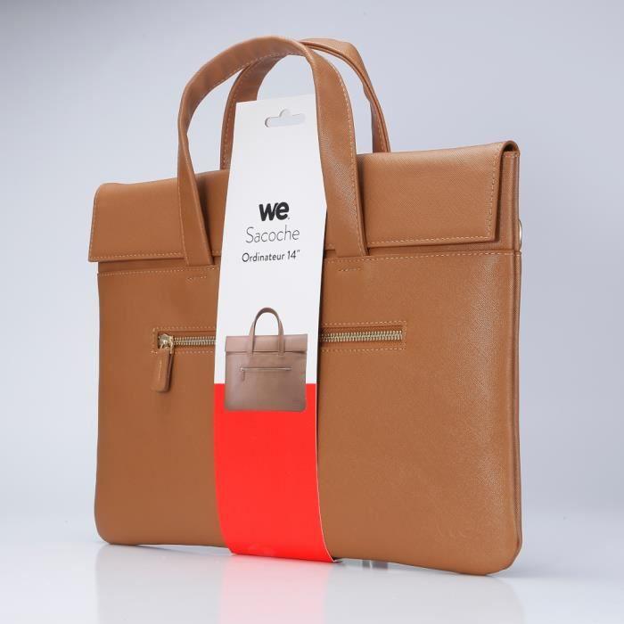 WE Sacoche pour les PC portable jusqu'à 14 pouces, extérieur en simili cuir et intérieur en effet peau de pêche, bandoulière
