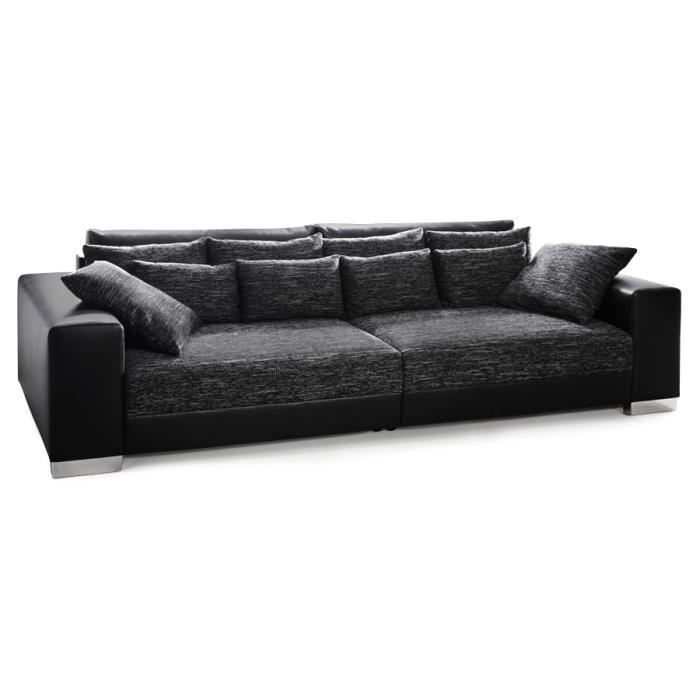 grand canap droit 39 quartz 39 noir noir 4 places achat vente canap sofa divan. Black Bedroom Furniture Sets. Home Design Ideas