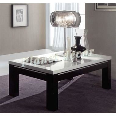 Table basse roma laqu e carr e chic noir blanc achat vente table basse ta - Table basse carree noire laquee ...