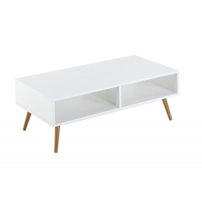 table basse blanche 4 pieds chne vintage