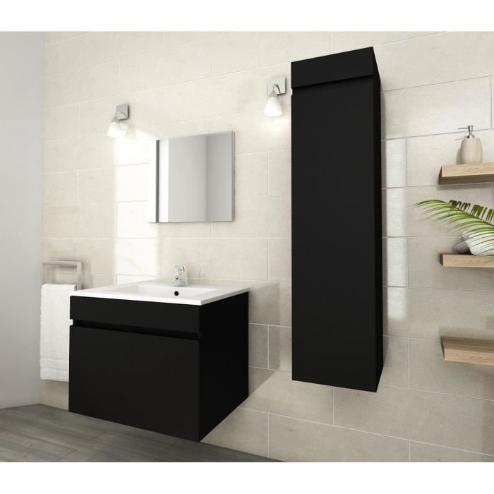 luna ensemble de salle de bain simple vasque 60 cm noir mat achat vente salle de bain. Black Bedroom Furniture Sets. Home Design Ideas