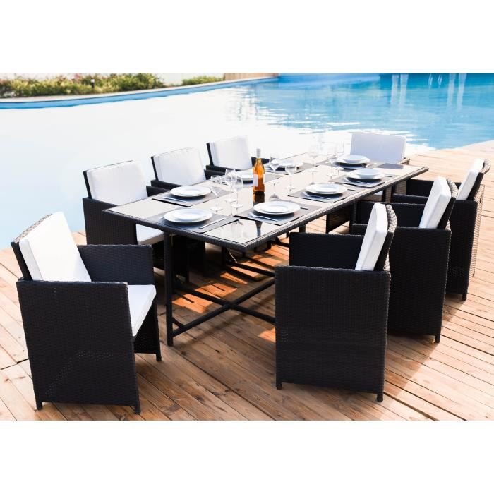table de jardin 8 chaises en acier et r sine tress e. Black Bedroom Furniture Sets. Home Design Ideas