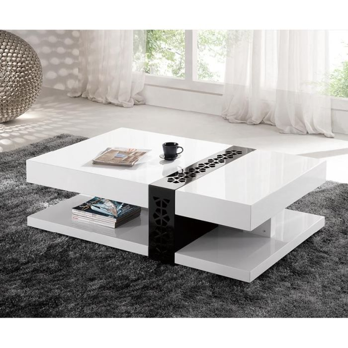 Table basse design laqu galina blanc achat vente - Table basse ovale design ...