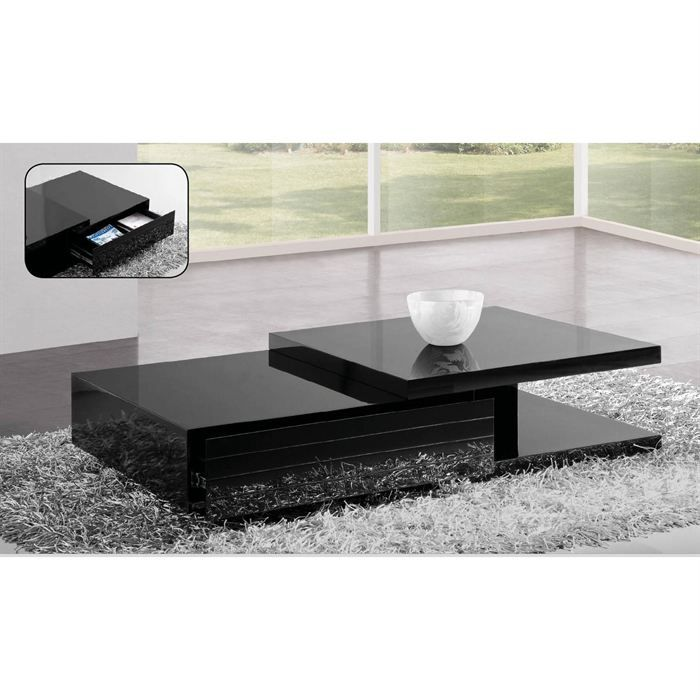 table basse laqu e noir haute brillance fallone achat. Black Bedroom Furniture Sets. Home Design Ideas