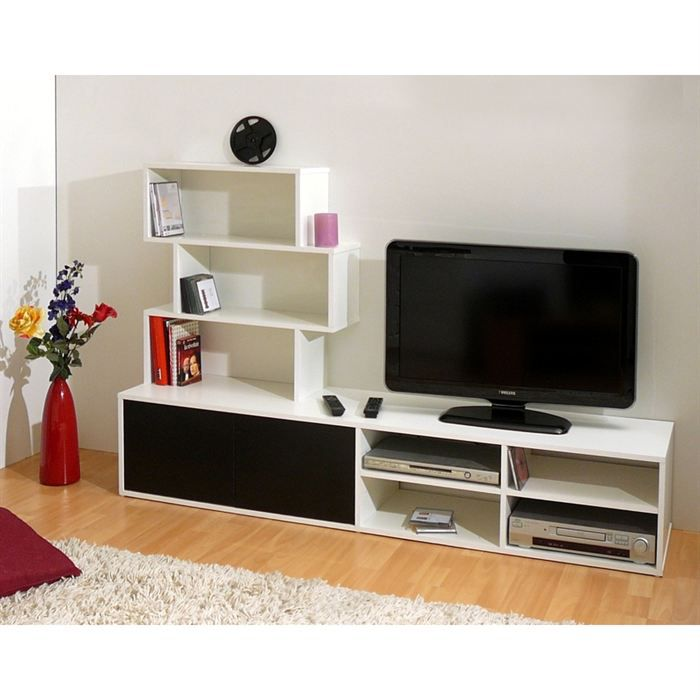 Meuble tv design laque noir et blanc caliente achat for Photo meuble tv design