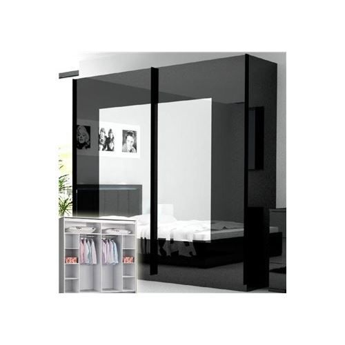 armoire laqu e noire roma 2 portes miroir achat. Black Bedroom Furniture Sets. Home Design Ideas