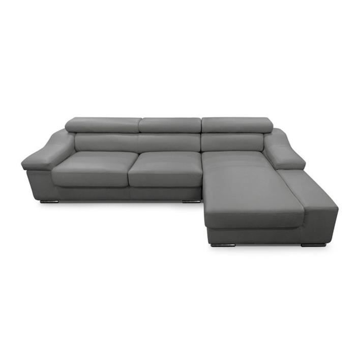 Canap d 39 angle droit gris cuir reg n r teti re achat - Canape angle tetiere ...