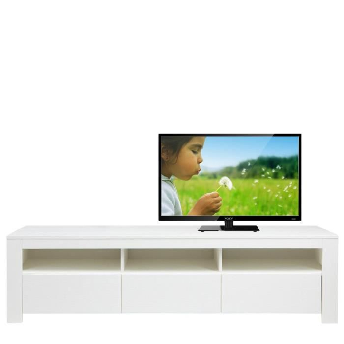 Meuble tv pin blanc christiaan dimensions large achat for Meuble tv pin