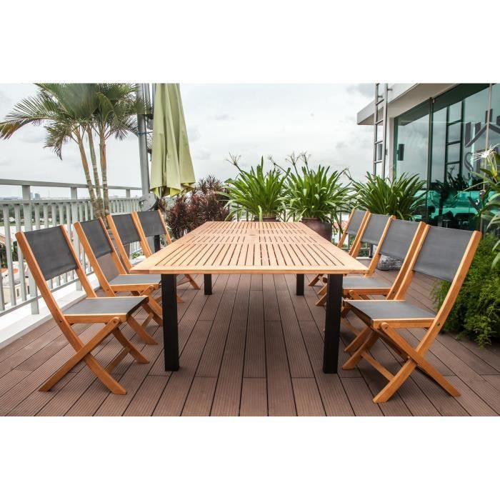 finlandek ensemble table extensible de jardin 200 250 300 cm 8 chaises en eucalyptus. Black Bedroom Furniture Sets. Home Design Ideas
