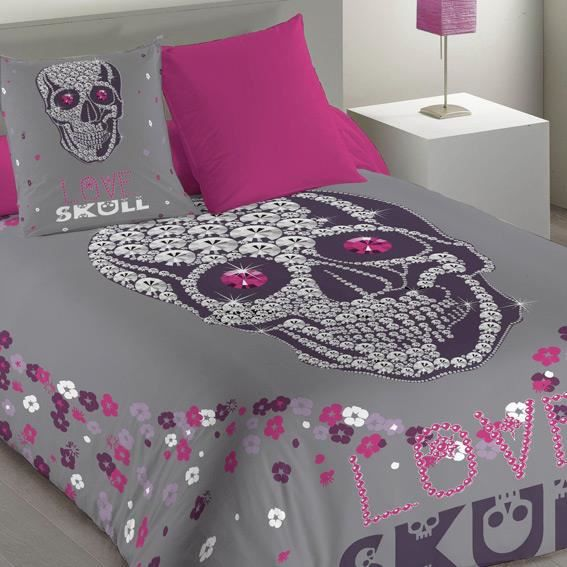 housse de couette et une taie 140 cm skully achat. Black Bedroom Furniture Sets. Home Design Ideas