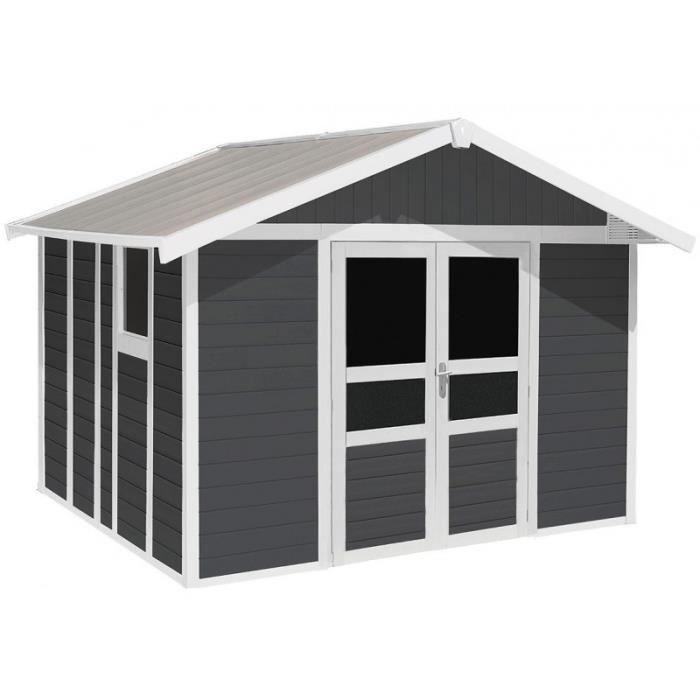 ABRI JARDIN - CHALET Abri PVC 11,2m² BASIC HOME gris foncé et blanc Gro