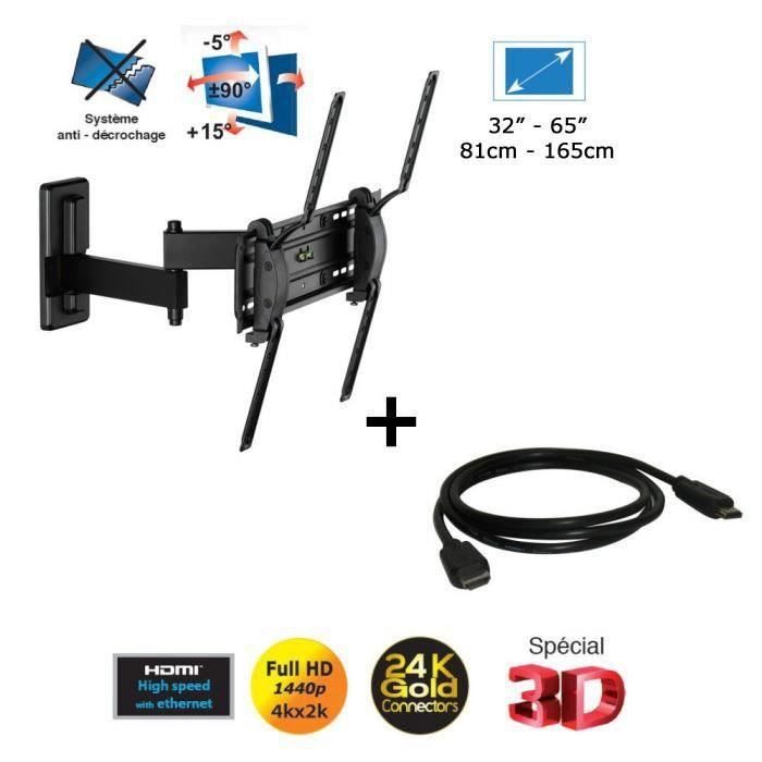 Meliconi 920009 support tv mural c ble hdmi achat - Support mural tv meliconi ...