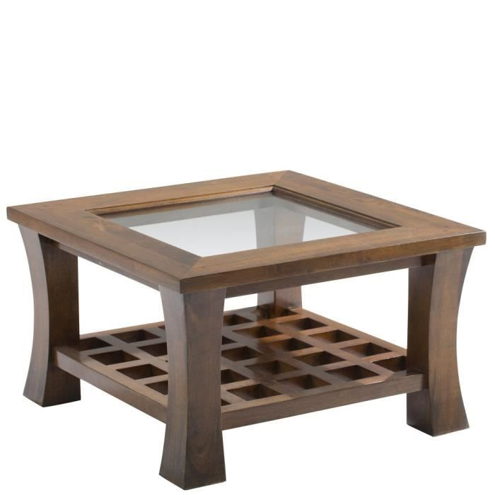 Table basse vitr e 60x60cm maori achat vente table for Table basse vitree