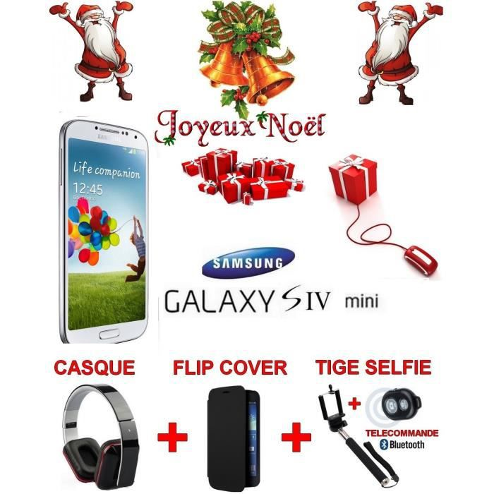 samsung galaxy s4 mini blanc pack noel achat. Black Bedroom Furniture Sets. Home Design Ideas