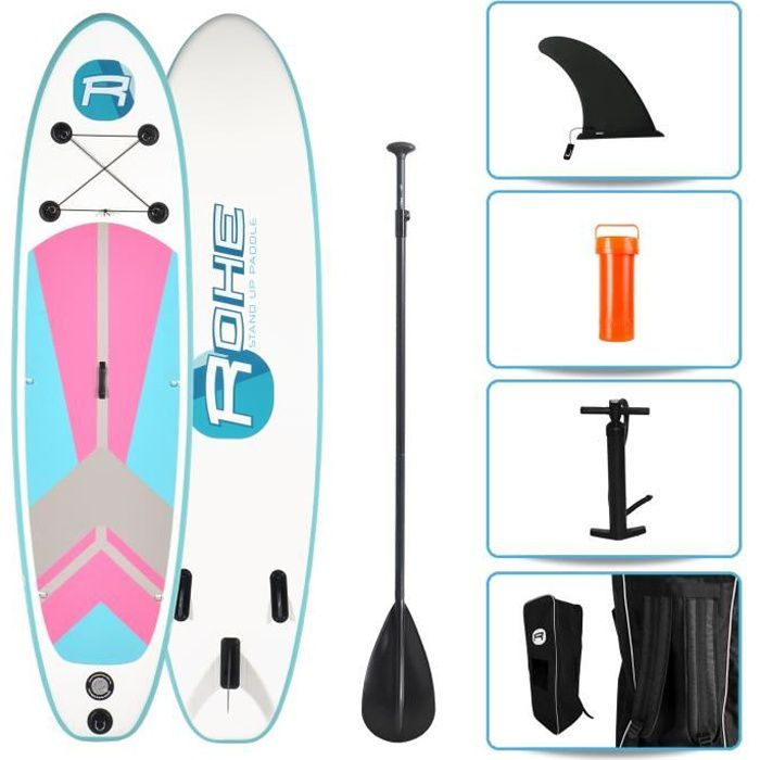 STAND UP PADDLE ROHE Pack Paddle Gonflable Indiana Pink - 297x76x1