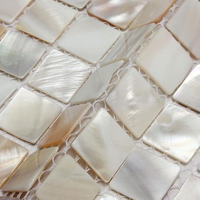 Carre Coquille Carrelage Mosaique Naturel Salle De Bain Cuisine Plaque Tuile Achat Vente Carrelage Parement Carre Coquille Carrelage Mo Cdiscount