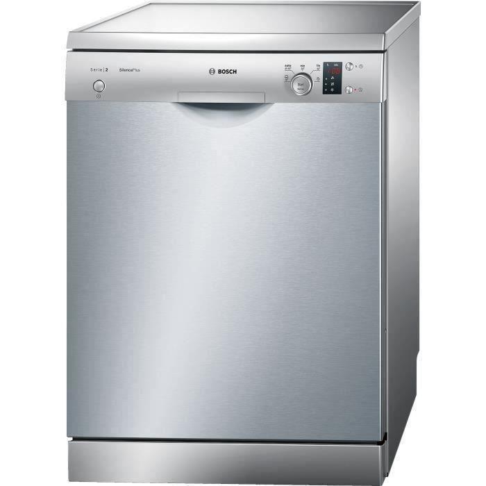 Lave-vaisselle pose libre BOSCH SMS25AI00E Série 2 - 12 couverts - Moteur induction - Largeur 60 cm - 48 dB - Inox