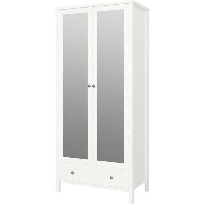 Armoire - Laqué blanc MDF - 2 portes miroir + 1 tiroir - L 89 x P 49,5 x H 195 cm