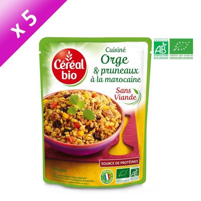 [LOT DE 5] CEREAL BIO Plat cuisiné d'orge et pruneaux à la marocaine Bio - 220 g
