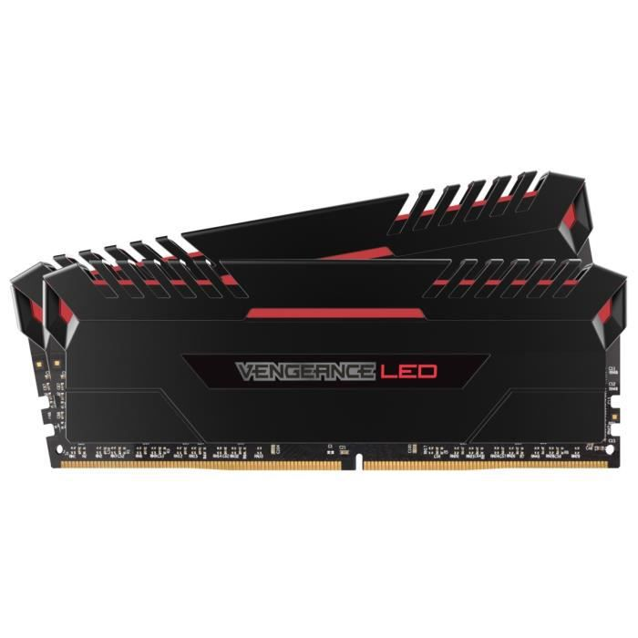 CORSAIR Mémoire PC DDR4 - Vengeance LED 32 Go (2 x 16 Go) - 3000 MHz - CAS 15 - LED Rouges (CMU32GX4M2C3000C15R)