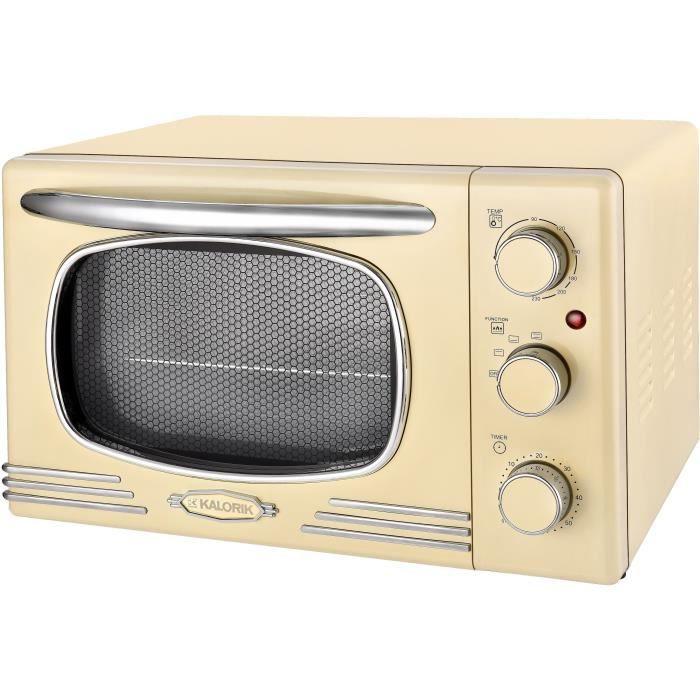 TKG OT 2500 - Mini-four vintage - 19,5L - 1300W - Chauffe en voûte, sole ou combinée - 90-230°C - Beige